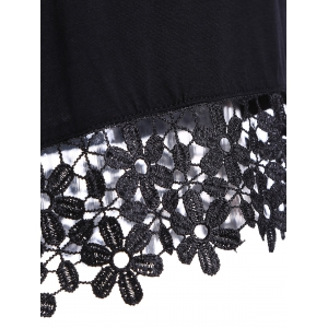 Jewel Neck Short Sleeve Crochet Flower Short T-Shirt -