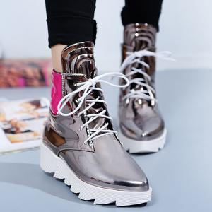 Stitching Colour Block Short Boots - SILVER 38