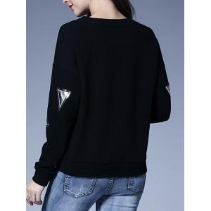 Letter Patch Design Loose-Fitting Sweatshirt -