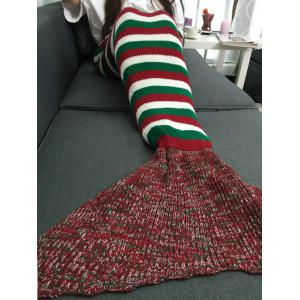 Super Color Stripe souple Bloc Crochet Knitting Mermaid Tail style Blanket -