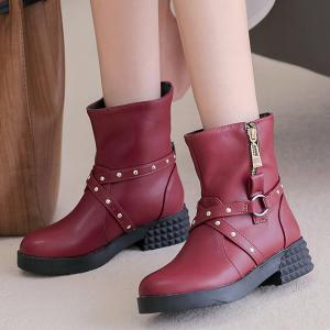 Studded Cross Straps Side Zip Boots -