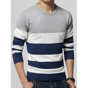 Color Block Stripe Print Round Neck Long Sleeve Sweater -