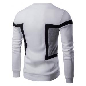Color Splicing Crew Neck Long Sleeve Sweatshirt - WHITE 2XL