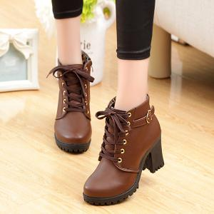 Zipper Belt Buckle Tie Up Ankle Boots - COFFEE 39