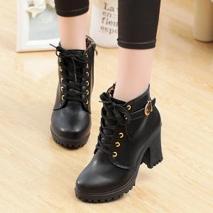 Zipper Belt Buckle Tie Up Ankle Boots - BLACK 39