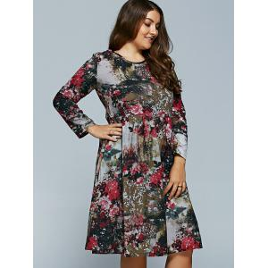 Plus Size Midi Flower Print Dress -