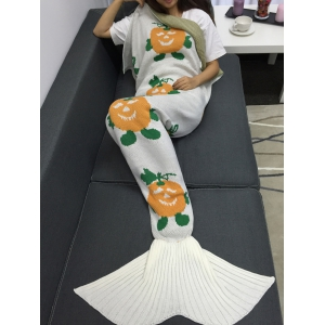 Halloween Pumpkin Multicolor Crochet Knitting Mermaid Tail style Blanket -