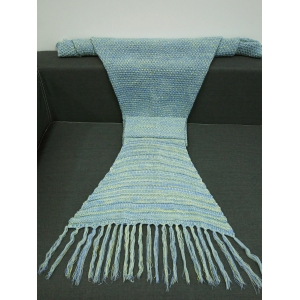 Tassel Design Crochet Knitting Mermaid Tail Style Blanket - COLORMIX