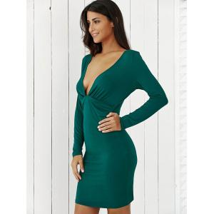 Plunging Neck Long Sleeve Dress -