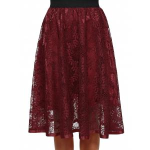 Hollow Out Lace Midi Skirt -