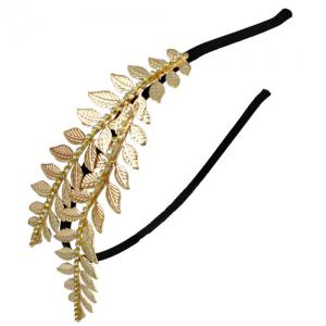 Leaf Decorated Rhinestone Vintage Hairband -
