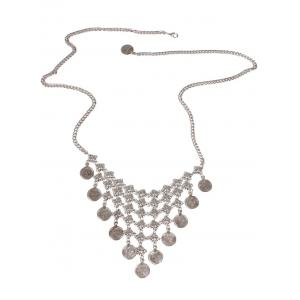 Round Coin Inverted Triangle Tassel Belly Chain - SILVER