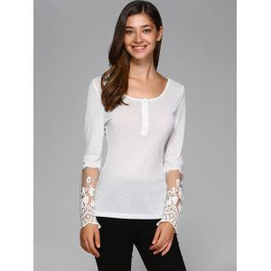 See-Through Sleeve Lace Patchwork Blouse -