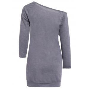 Skew Neck Graphic Long Sleeve Tee Dress - GRAY S