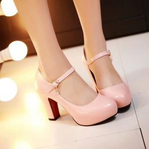 PU Leather Rhinestone Chunky Heel Pumps - PINK 38