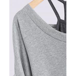 Plus Size Lace Up T-Shirt with Camisole - GRAY 4XL