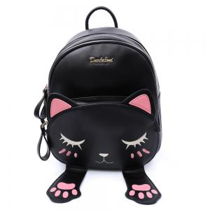 Cute Cat Pattern and Black Design Backpack For Women -