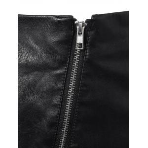 Faux Leather Zipper Asymmetric Skirt -