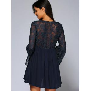 Lace Splicing Long Sleeves Dress -