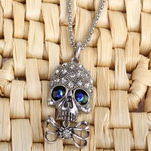 Carved Rhinestone Bowknot Skull Necklace -