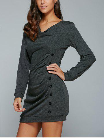Online Single-Breasted Long Sleeve Ruched Dress