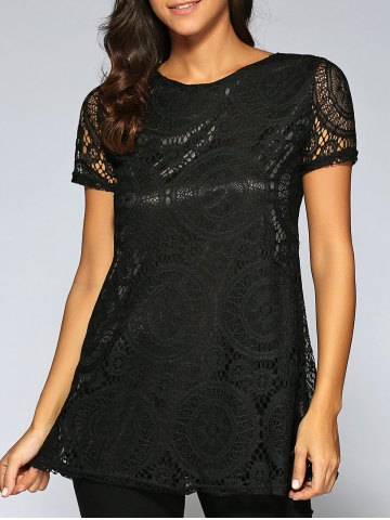 Fashion Lace Openwork Tee - L BLACK Mobile