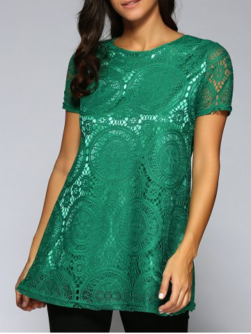 Unique Lace Openwork Tee - XL GREEN Mobile