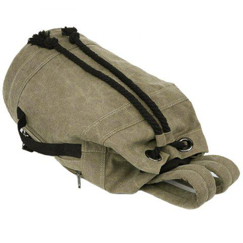 Outfits Simple Canvas and Drawstring Design Backpack For Men - KHAKI  Mobile