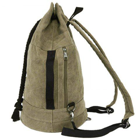 Latest Simple Canvas and Drawstring Design Backpack For Men - KHAKI  Mobile
