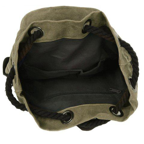 Fashion Simple Canvas and Drawstring Design Backpack For Men - KHAKI  Mobile