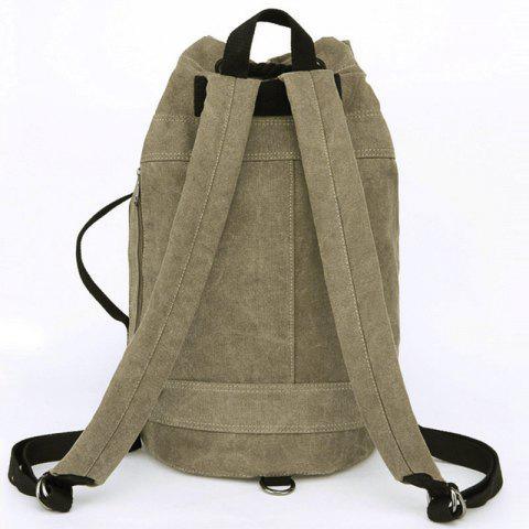 Chic Simple Canvas and Drawstring Design Backpack For Men - KHAKI  Mobile