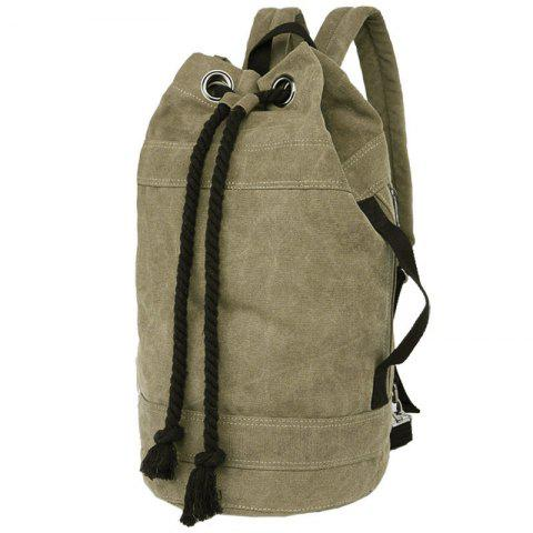Shops Simple Canvas and Drawstring Design Backpack For Men - KHAKI  Mobile