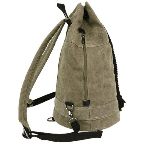 Outfit Simple Canvas and Drawstring Design Backpack For Men - KHAKI  Mobile