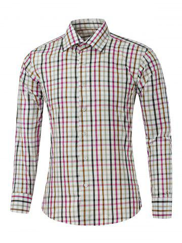 Outfit Multicolor Turn-down Collar Long Sleeve Gingham Shirt