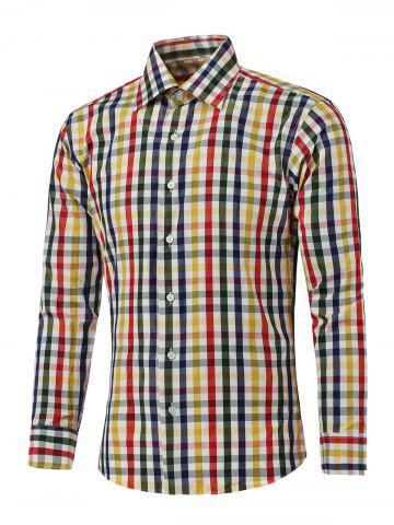 Shops Color Spliced Long Sleeve Plaid Shirt
