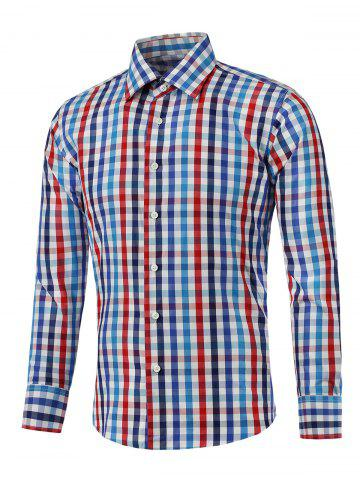 Outfits Color Splicing Long Sleeve Checked Shirt
