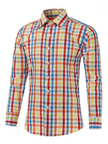 Best Long Sleeve Color Splicing Plaid Shirt