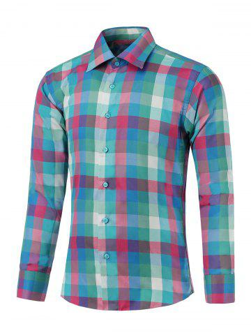 Trendy Button Up Long Sleeve Colorful Grid Shirt