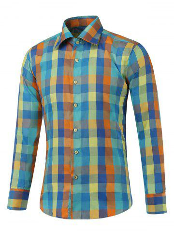 Buy Long Sleeve Button Up Multicolor Plaid Shirt