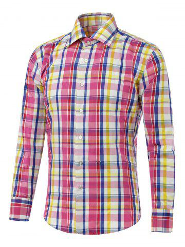 Hot Long Sleeve Button Up Color Splicing Checked Shirt