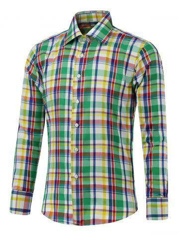 Chic Button Up Long Sleeve Color Spliced Plaid Shirt