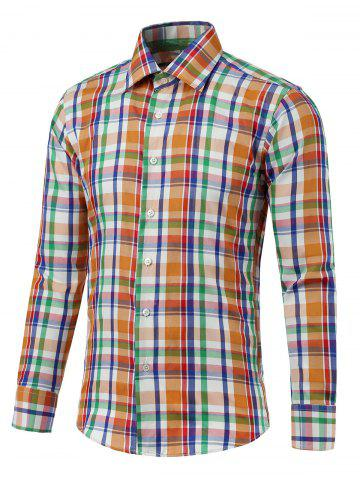 Discount Turn-down Collar Long Sleeve Color Spliced Plaid Shirt