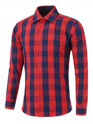 Cheap Long Sleeve Color Spliced Checked Shirt RED XL