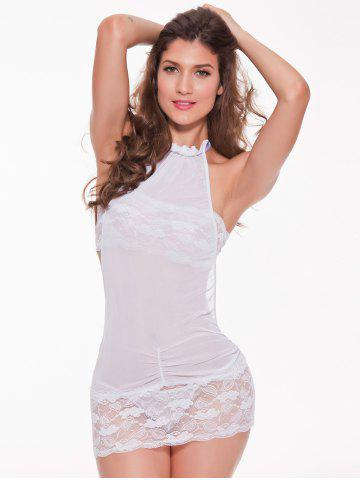 New Mesh Laciness Ruched Backless Babydoll - M WHITE Mobile