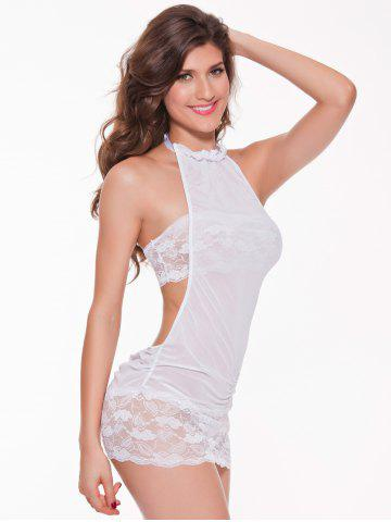 Shops Mesh Laciness Ruched Backless Babydoll - M WHITE Mobile