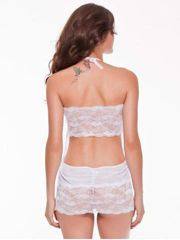 Chic Mesh Laciness Ruched Backless Babydoll - M WHITE Mobile