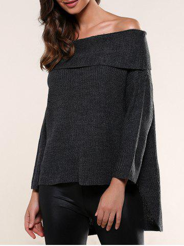 Fashion Off-The-Shoulder High Low Hem Sweater