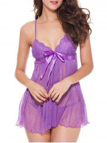 Affordable Laciness Bowknot Mesh Babydoll - PURPLE XL Mobile