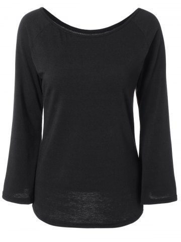 Shop Off the Shoulder Flare Sleeve Fitting T-Shirt BLACK XL