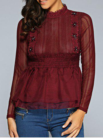 Outfit Lace Spliced Smocked Blouse